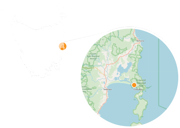Map showing our location in Freycinet, Tasmania.
